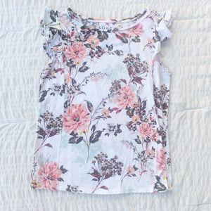 Loft Floral Ruffle Sleeve Tee White M